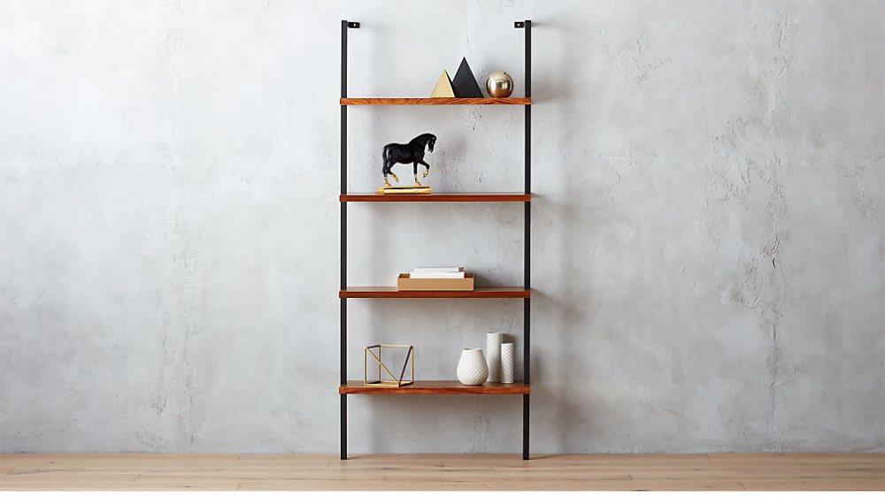 Helix Acacia Wall Mounted Bookcase Reviews Cb2 Modern Bookcase Basement Decor Bookcase