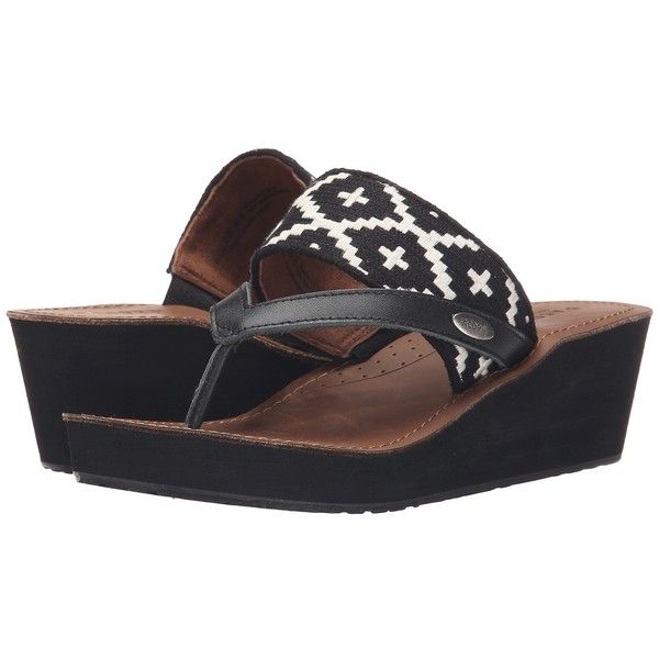 Acorn ArtWalk Leather Wedge (Black/Cream Southwest) Women's Wedge... ($60)  ❤ liked on Polyvore featuring shoes, sandals, black wedge heel sandals,  leather ...
