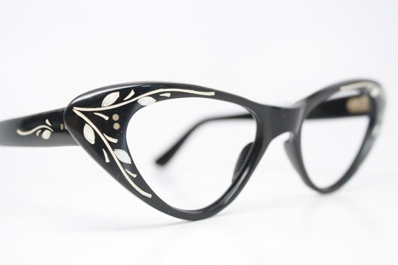 673f2907d3d6 Black Floral cat eye glasses vintage cateye frames eyeglasses ...