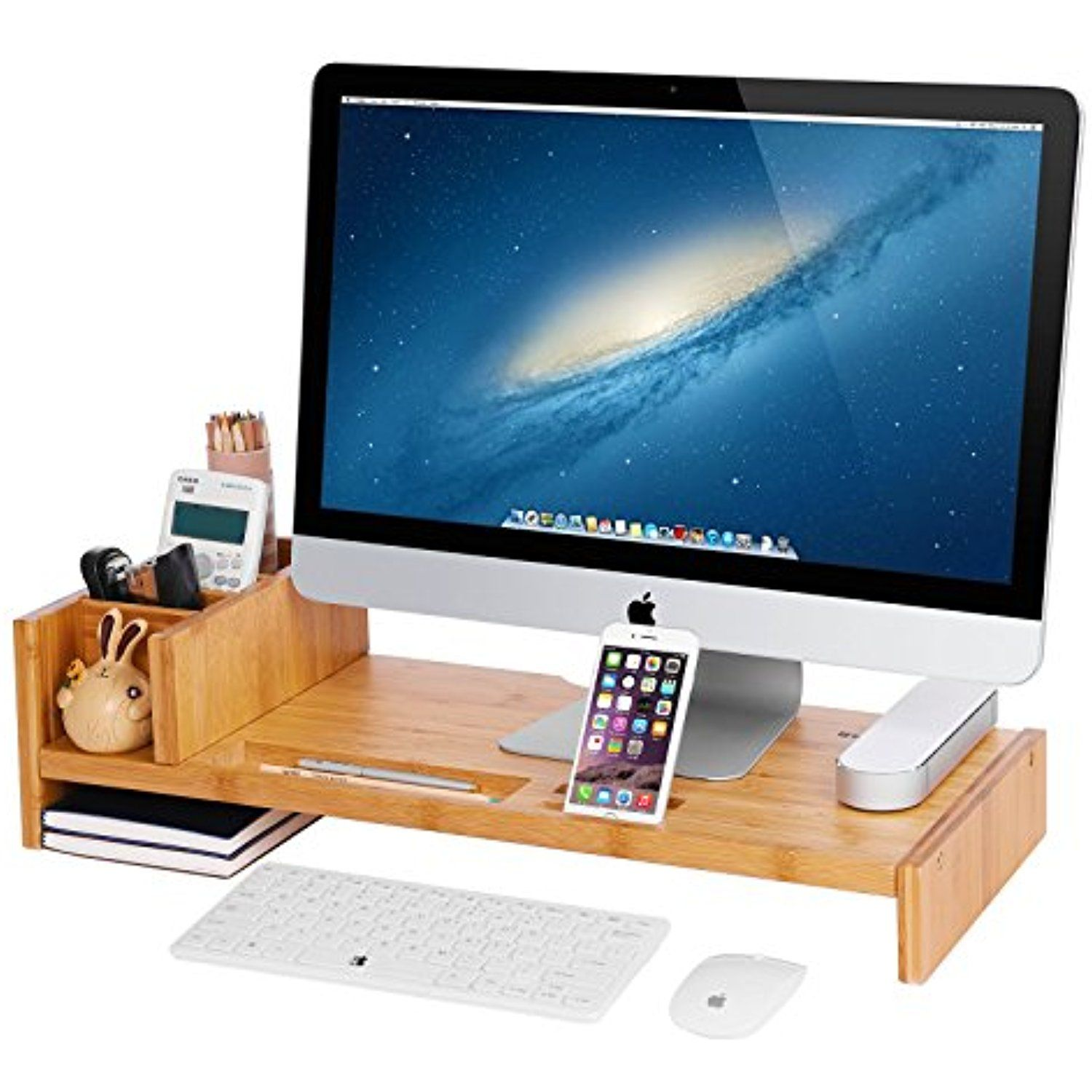 Songmics Bamboo Monitor Stand Riser With Adjustable Storage Organizer Laptop Tv Printer Stand Desk Organizer F Desk Organization Monitor Stand Cool Office Desk