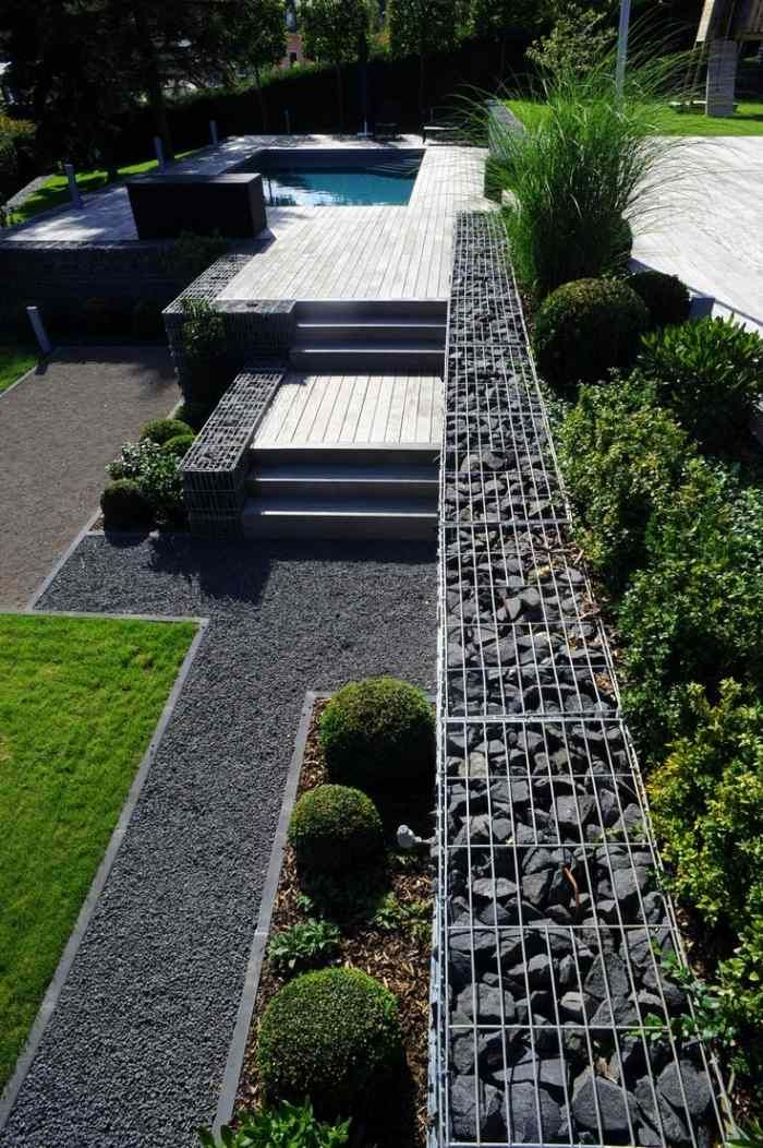 Mur en gabion et applications du gabionnage dans le jardin for Element decoratif jardin