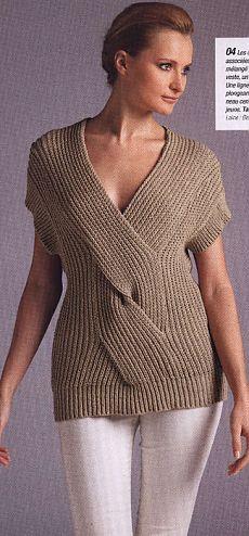 Вязание спицами - Жилет - туника спицами с широкой косой по центру переда- Модель из журнала: Fait Main HS Tricot № 28 2012