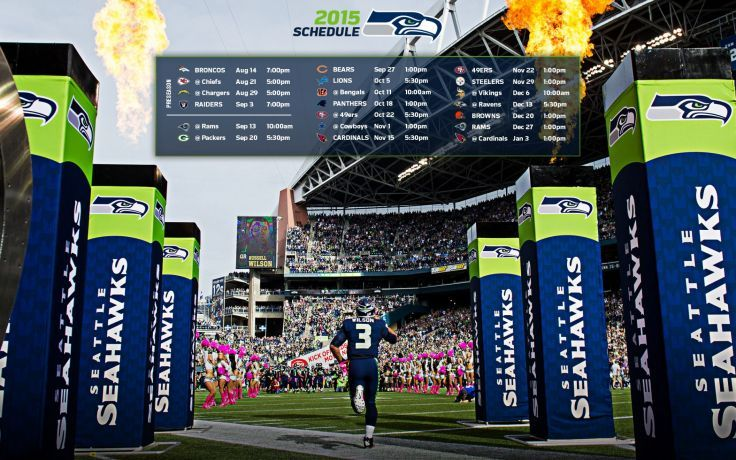 2015 Seattle Seahawks Nfl Football Poster Wallpaper Background