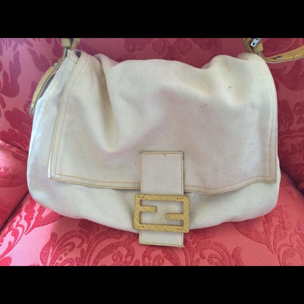 0432f2bc09 AUTHENTIC Fendi White Denim Bag w Yellow Snakeskin