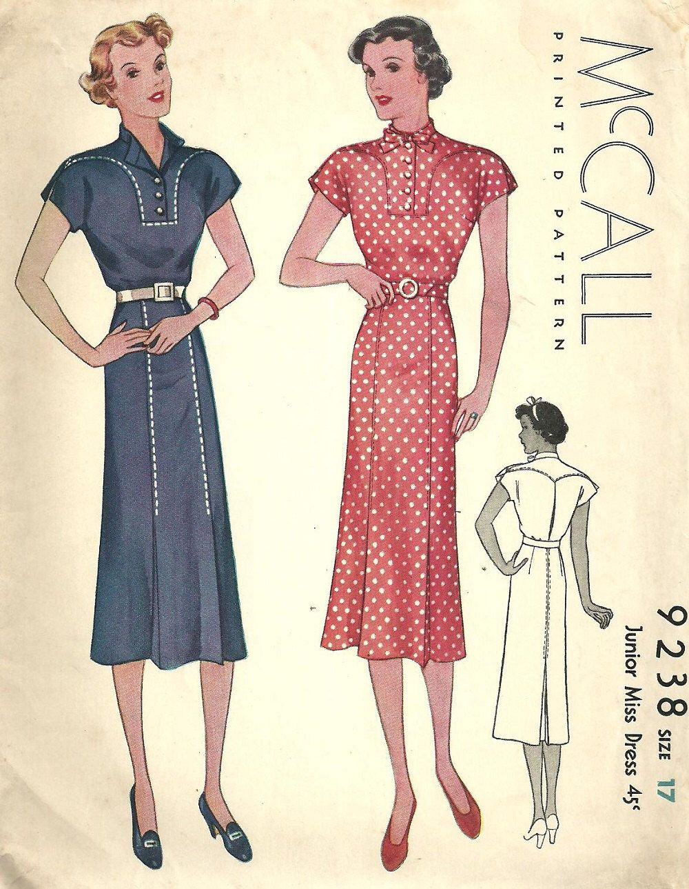 McCall 9238 / Vintage 30s Sewing Pattern / Dress / Size 17 Bust 35 ...