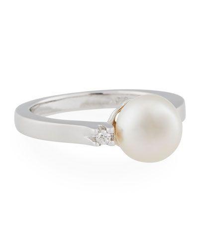 Belpearl 14k Diamond & Freshwater Pearl Ring, Size 7