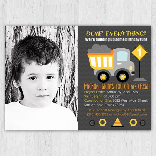 Dump Truck Birthday Invitation with Photo