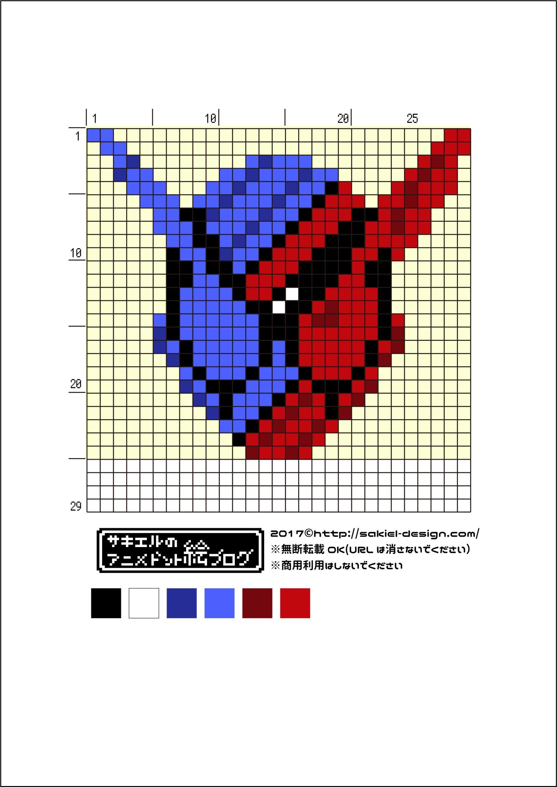 簡単バージョン ラビットタンクフォームのアイロンビーズ図案 仮面ライダービルド サキエルのアニメドット絵ブログ 図案 クロスステッチ 図案 刺繍 図案