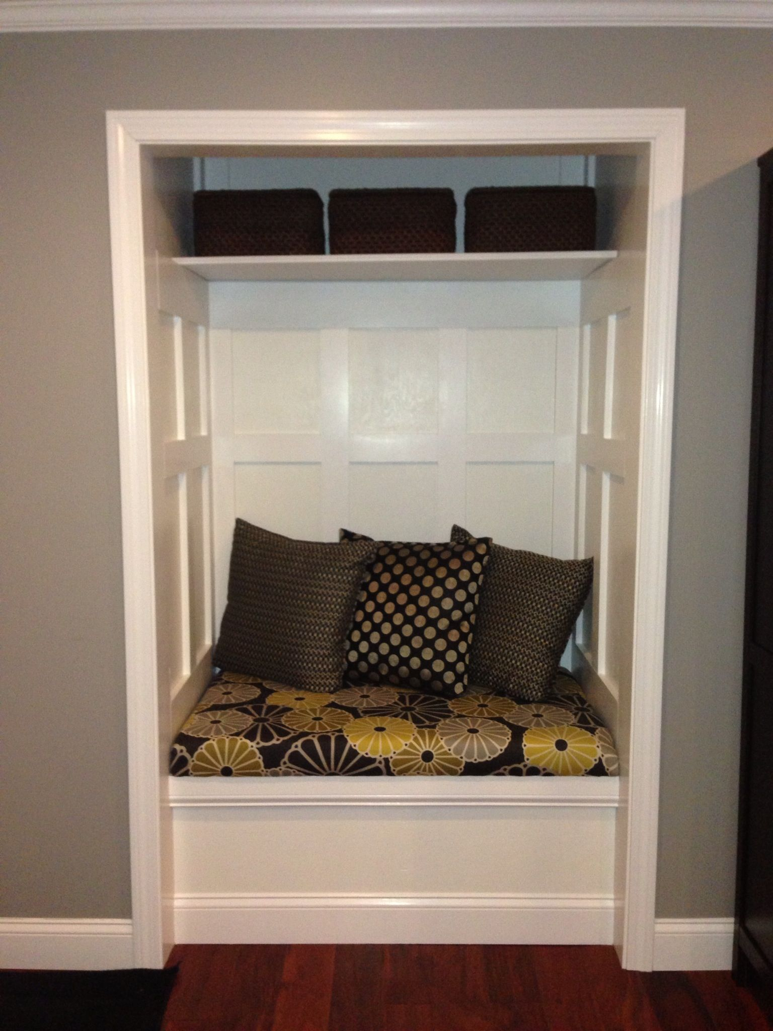 Remove Foyer Closet : Entryway closet converted to bench our entry is a