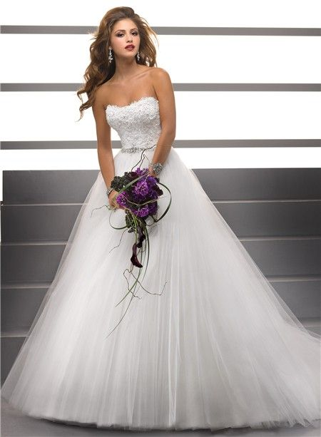 Simple Ball Gown Strapless Lace Tulle Puffy Wedding Dress With ...