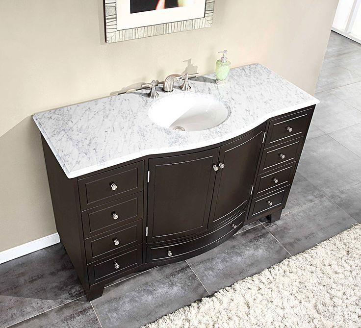 Silkroad 55 Inch Single Sink Bathroom Vanity Dark Walnut Finish
