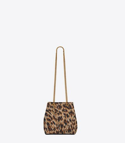 Limited Edition!2016 New Saint Laurent Bag Cheap Sale-Saint Laurent Classic  Baby Emmanuelle Chain Bucket Bag in Natural and Black Leopard Woven  Polyester ... 0b5b63aa693e2