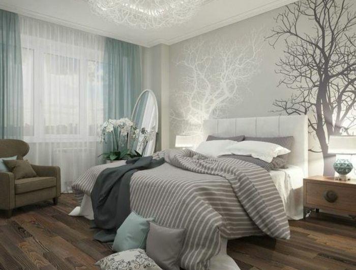 11 Deko Ideen Schlafzimmer Wandsticker Baum Blaue Gardinen