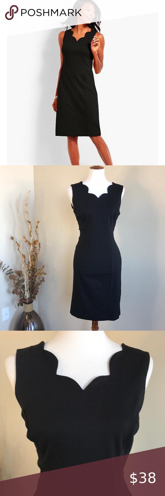 Talbots Black Dress W Scalloped Neckline Fashion Beautiful Black Dresses Clothes Design [ 1740 x 580 Pixel ]