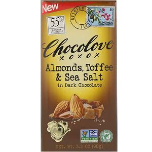 Chocolove Almonds Toffee Sea Salt In Dark Chocolate 3 2 Oz 90 G In 2020 Dark Chocolate Toffee Chocolate