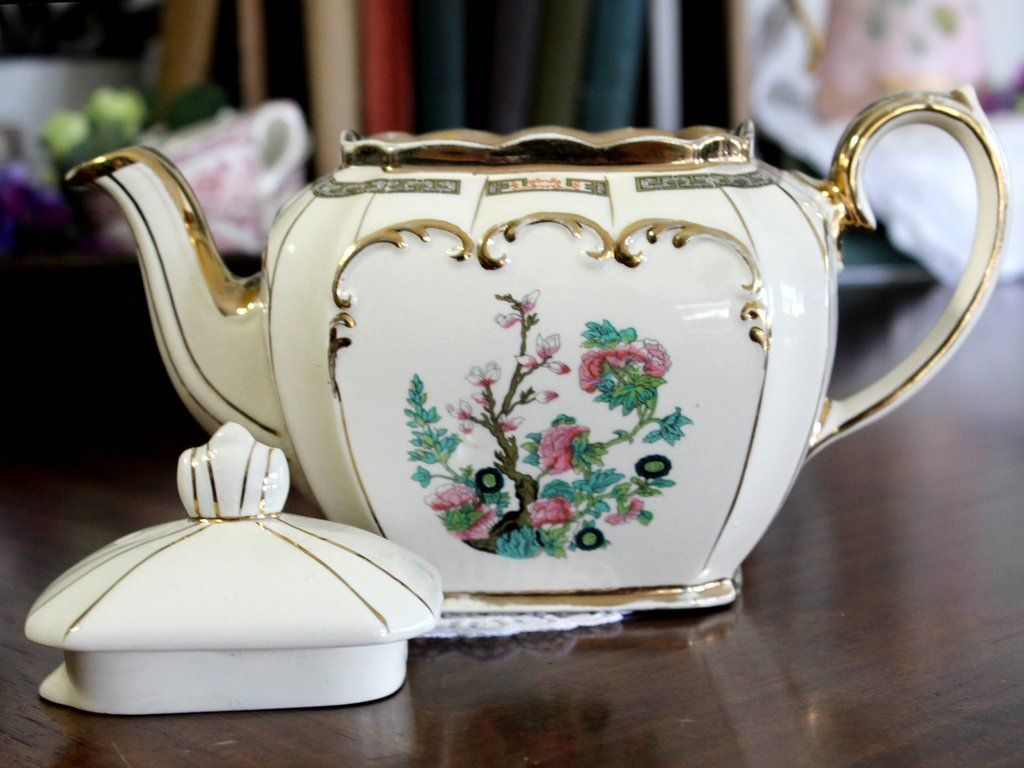 Made in England Flower Teapot Sadler Indian Tree Teapot