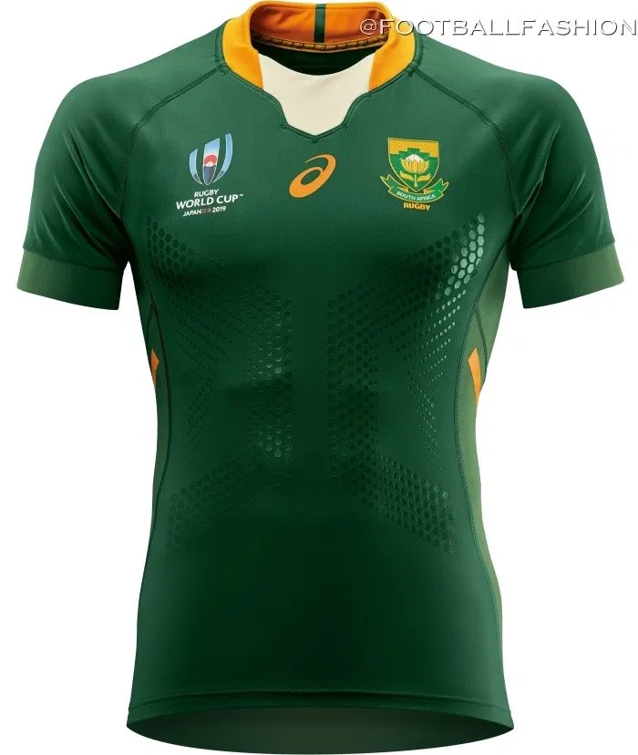 South Africa 2019 Rugby World Cup Asics Jerseys Football Fashion Org In 2020 Rugby Outfit Springbok Rugby Rugby Jersey