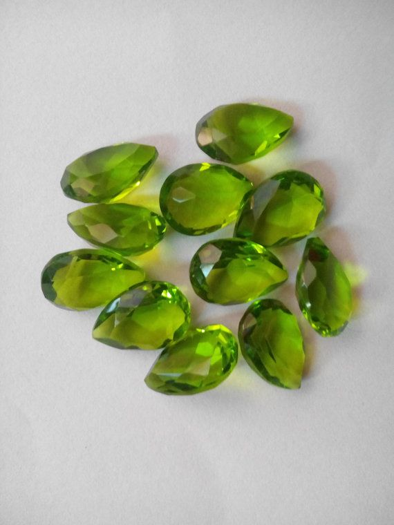 Gorgeous Pridot Quartz faceted pear shape by Gemstonebeadsfinding