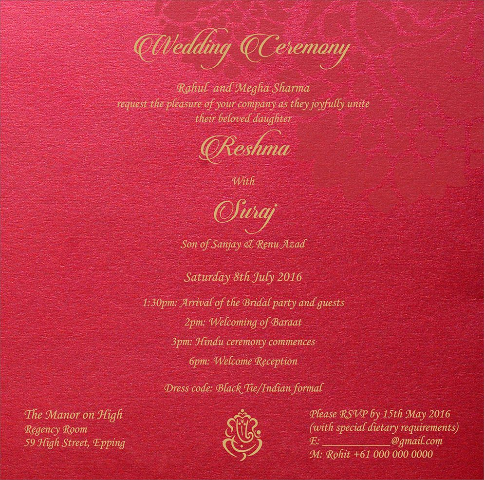Wedding Invitation Wording For Hindu Wedding Ceremony | Hindu ...