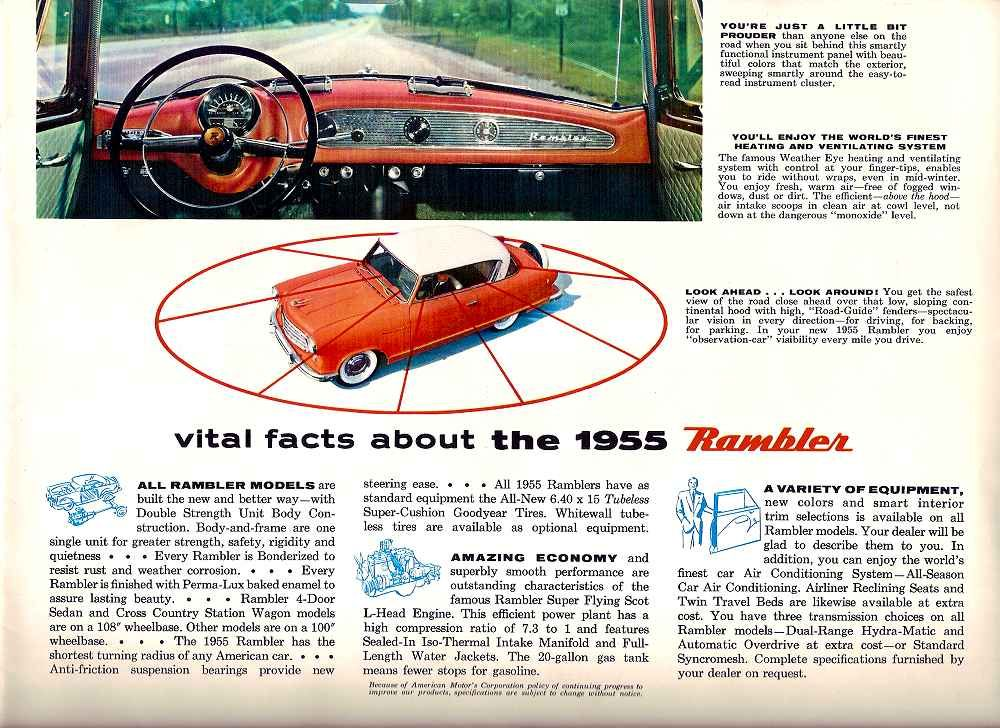 1955 Rambler Vital facts | old car ads | Pinterest | Cars