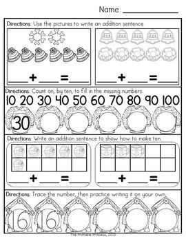 December Morning Work for Kindergarten   Kindergarten math