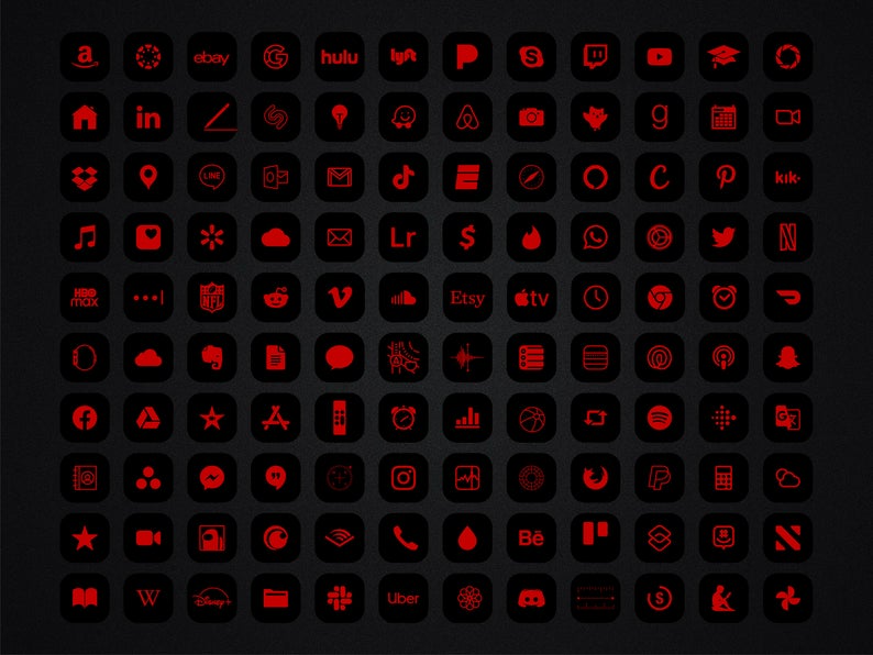 Red and Black App icons IPhone IOS 14 Theme, Minim