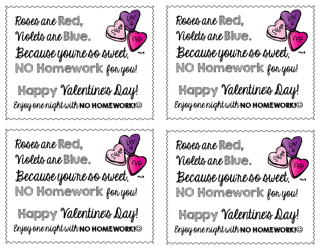 photo regarding Free Printable Homework Pass called FREEBIE-Valentines Working day No Research Pes No cost Solutions