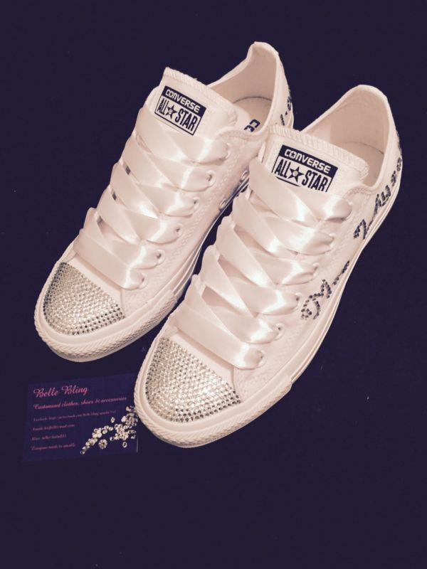 fe03d18012d8 Wedding Bridal Converse Trainers Mono White Bling Personalised 3 4 5 6 7 8 9