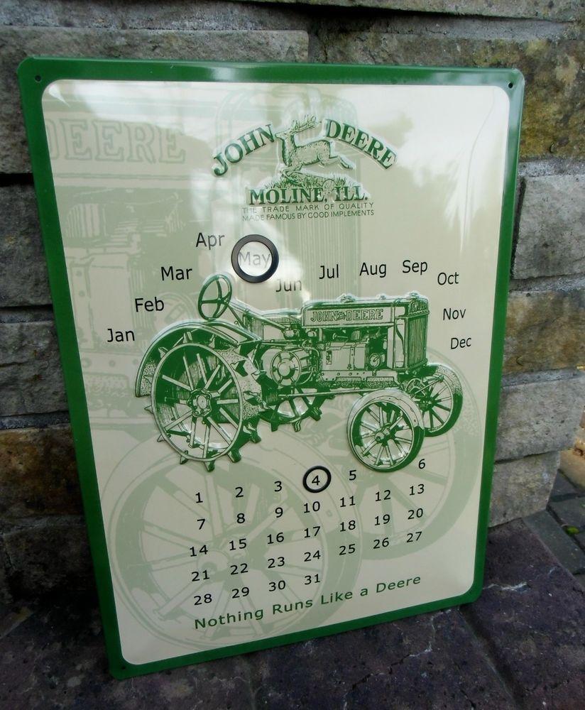 Large Official Perpetual METAL Wall Calendar Sign * JOHN DEERE *