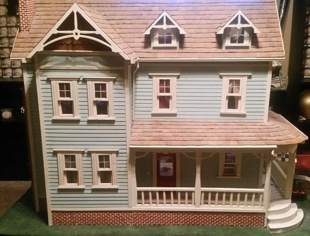 Vintage Wooden Dollhouse Assembled Fully Furnished Unbranded