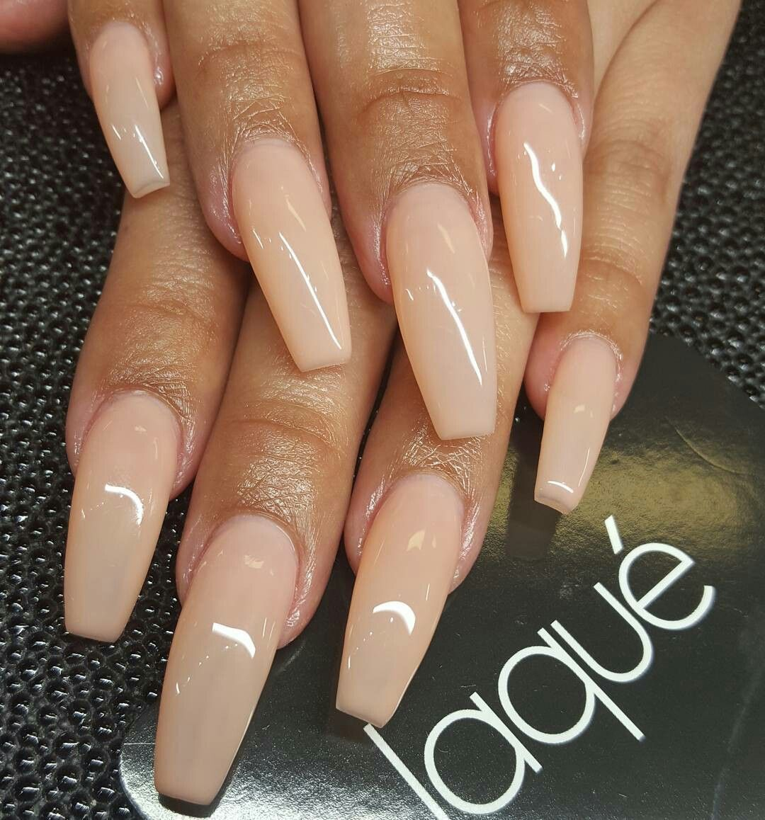 Nude coffin nails Silver glitter bling nail art design… on