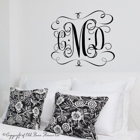 Hey I found this really awesome Etsy listing at //. Monogram Wall DecalsWall ...  sc 1 st  Pinterest & Large Vinyl Monogram Wall Decal - custom color - Monogram Decal - 3 ...
