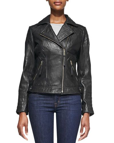 T8STB Neiman Marcus Notched-Collar Trapunto Leather Moto Jacket