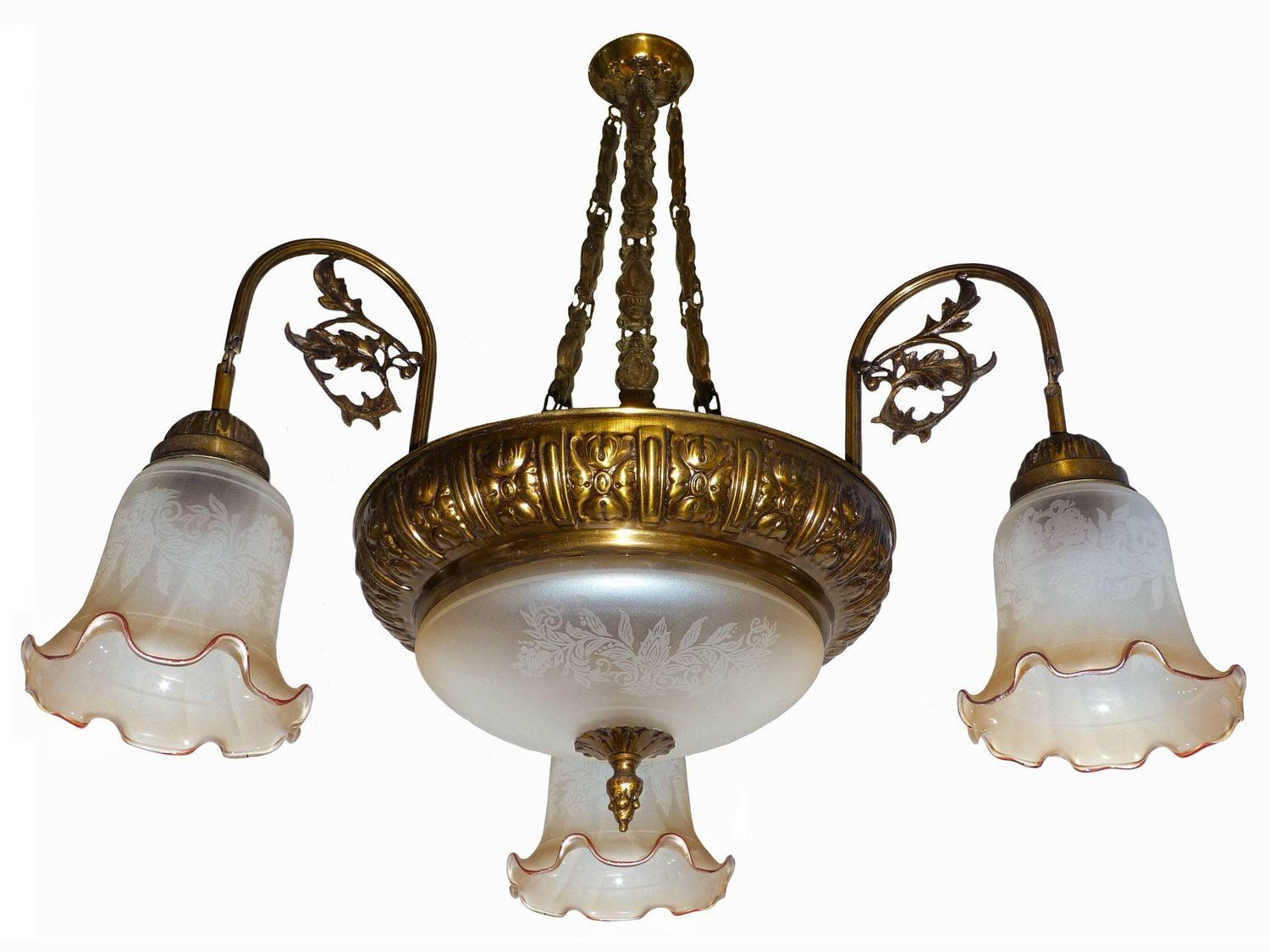 French art deco or art nouveau with five light and etched glass french art deco or art nouveau with five light and etched glass chandelier mozeypictures Image collections