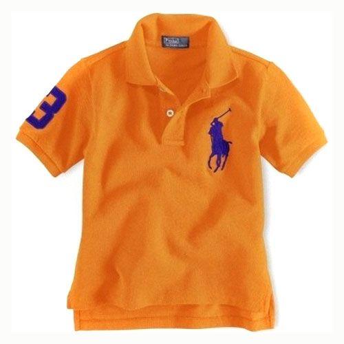 Enfants coton à manches courtes Polo à Orange   Ralph Lauren Enfant ... c3e8b1bd26e9