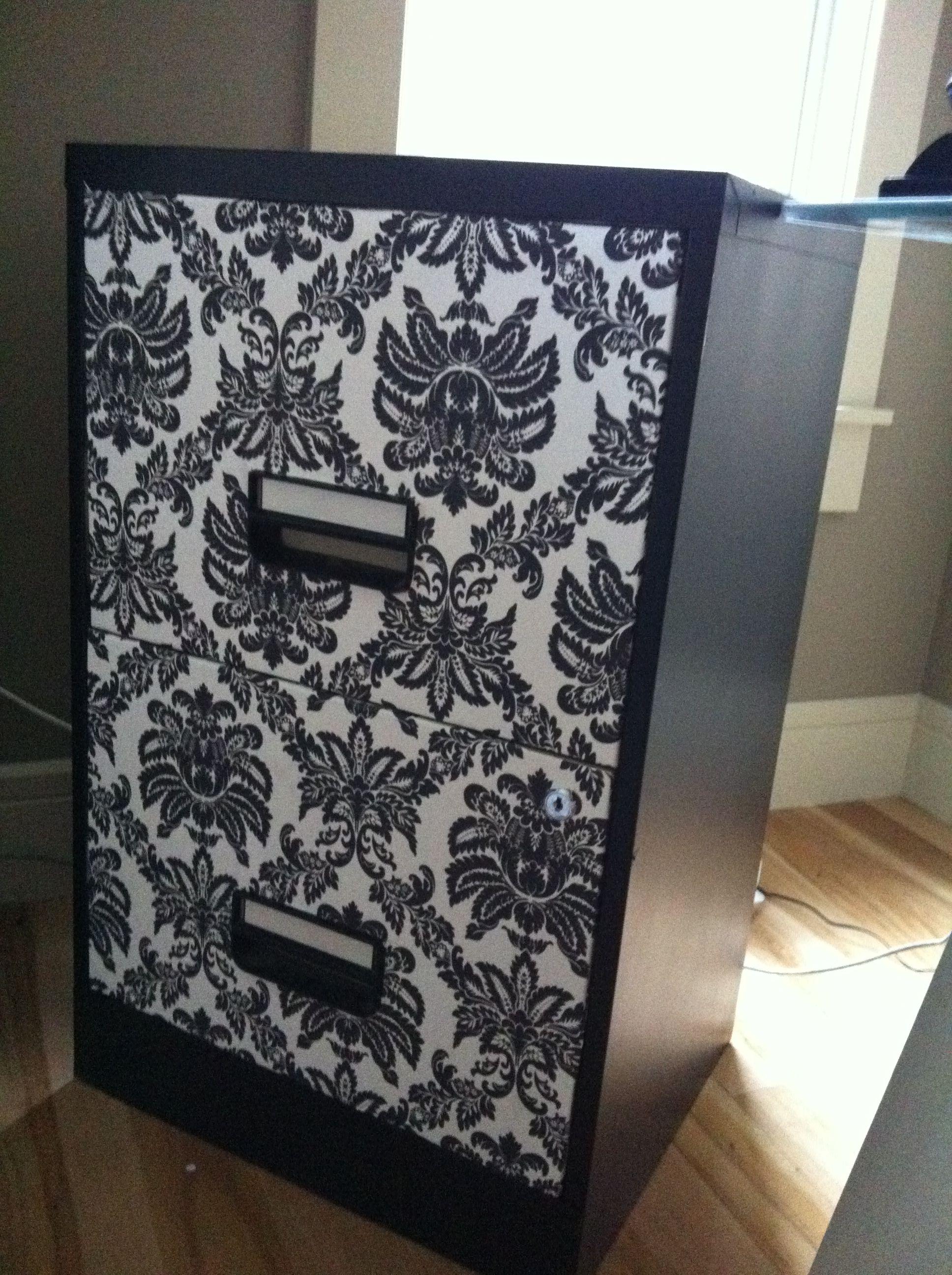 wallpaper and spray paint filing cabinet makeover school rh pinterest com