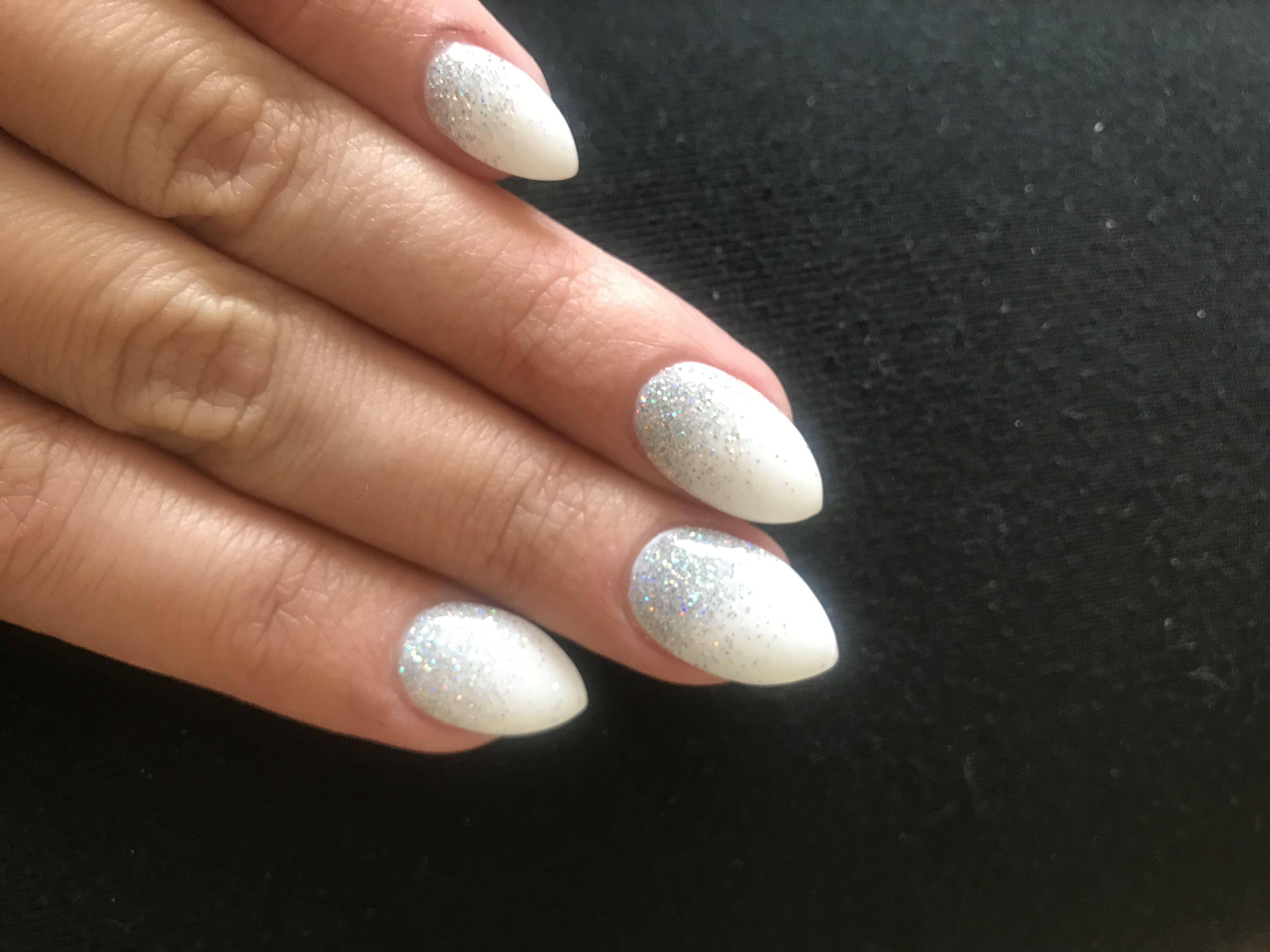 Ombre Nails White And Iridescent Silver Glitter Coffin Almond Powder Dip Real Nails Done By Jessica At Beauty Zo White Nails Ombre Nails Dip Powder Nails