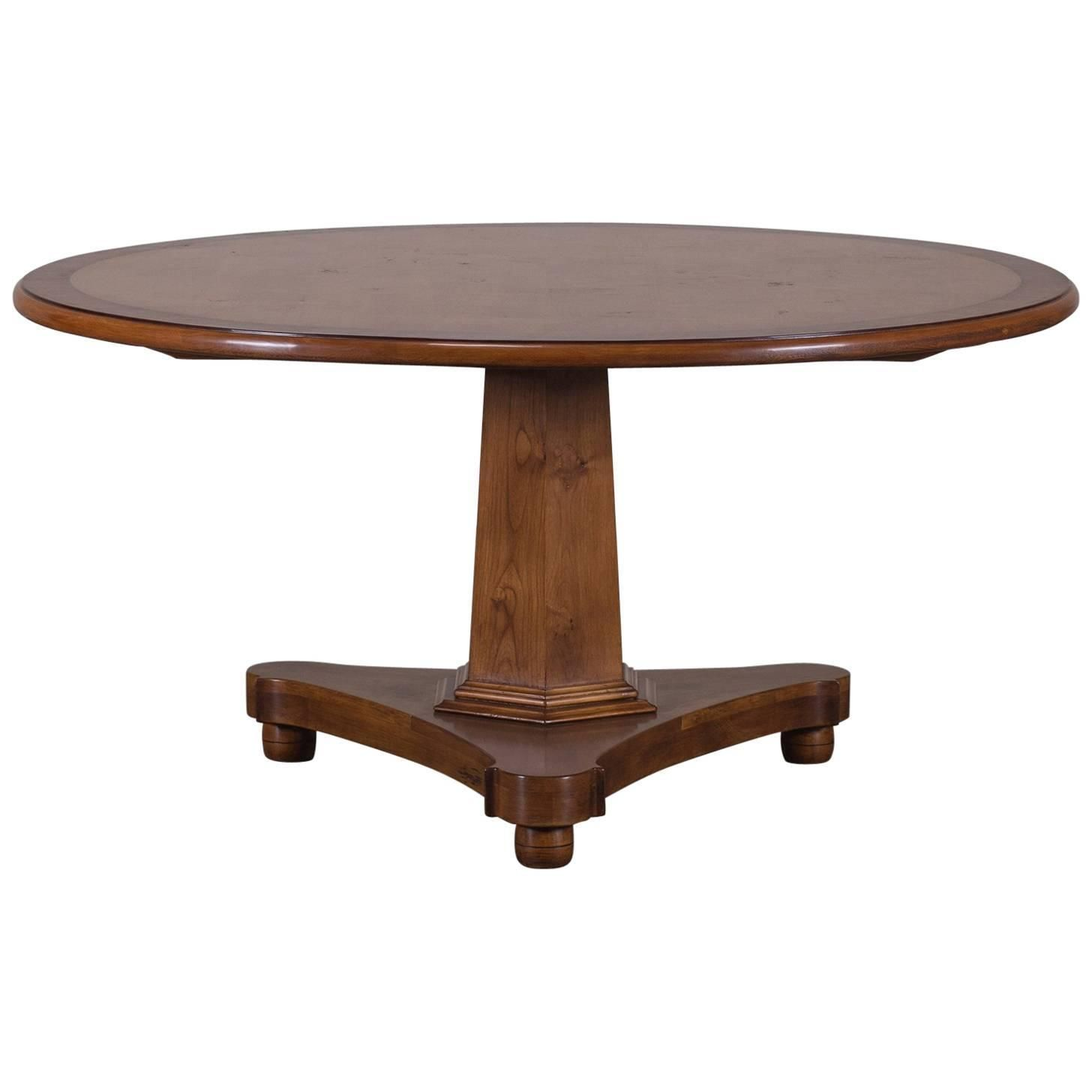round pedestal kitchen table English Regency Style Cherrywood Round Pedestal Dining Table