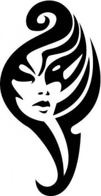 Tribal girl face tatoo template vector Tattoos Pinterest - tattoo template