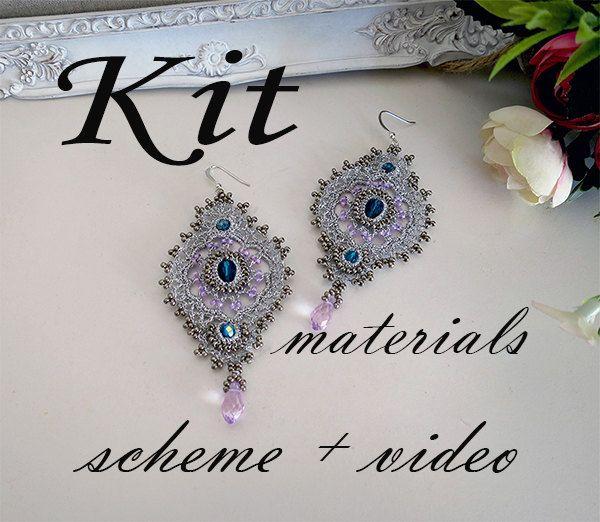 Earrings crochet tutorial( scheme + video).Earrings crochet lace ...