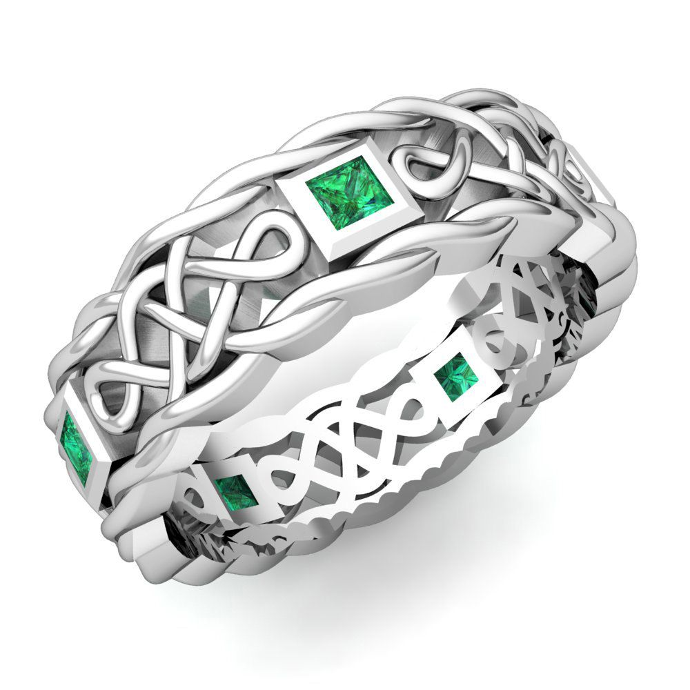 Mens Emerald Wedding Band In 14k White Gold Celtic