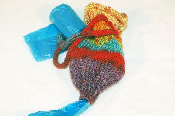 Hand Knit Pet Waste Bag HOLDER 004 by The Thrifty Needle on Etsy, $12.00