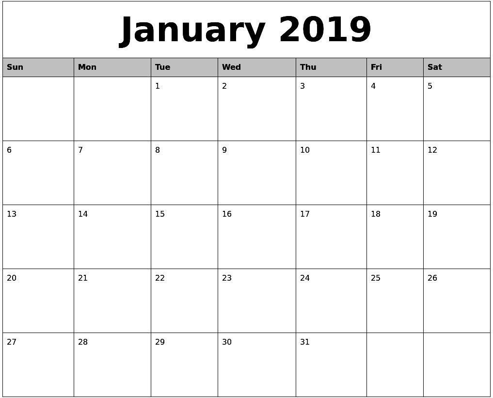 January 2019 Calendar Template In Word Doent