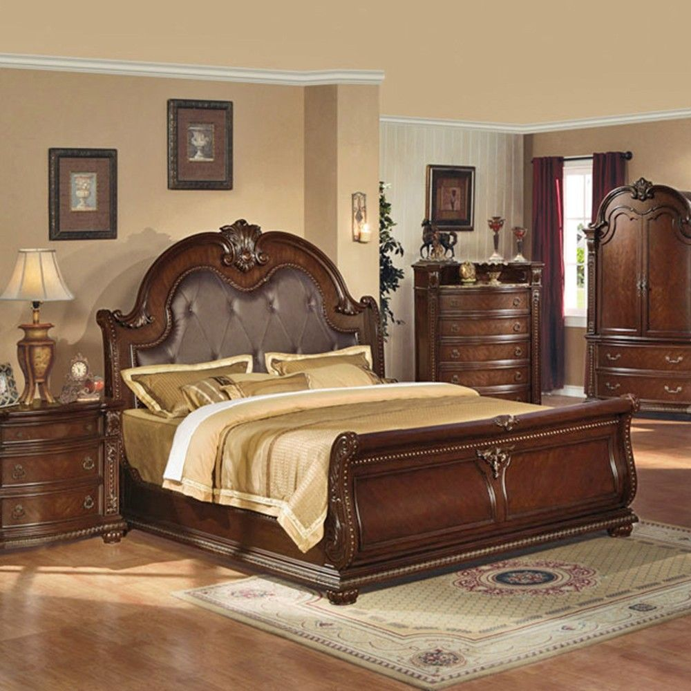 Anondale Brown Cherry Sleigh Bedroom Set  Home Decorbedrooms Entrancing Fancy Bedroom Sets Decorating Design