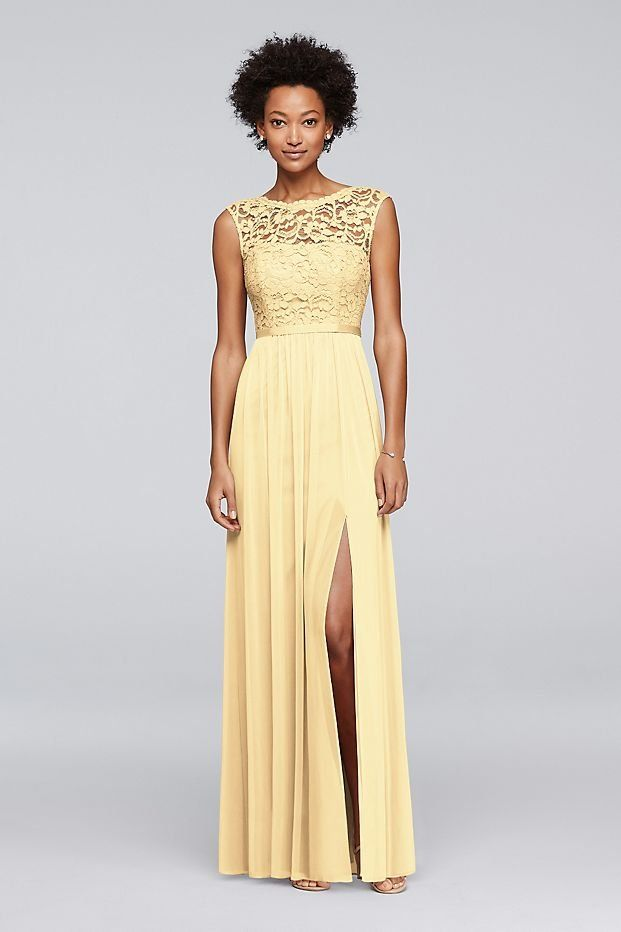 2633b6b3749 Long Canary Yellow Bridesmaid Dress with Lace Bodice available at David s  Bridal
