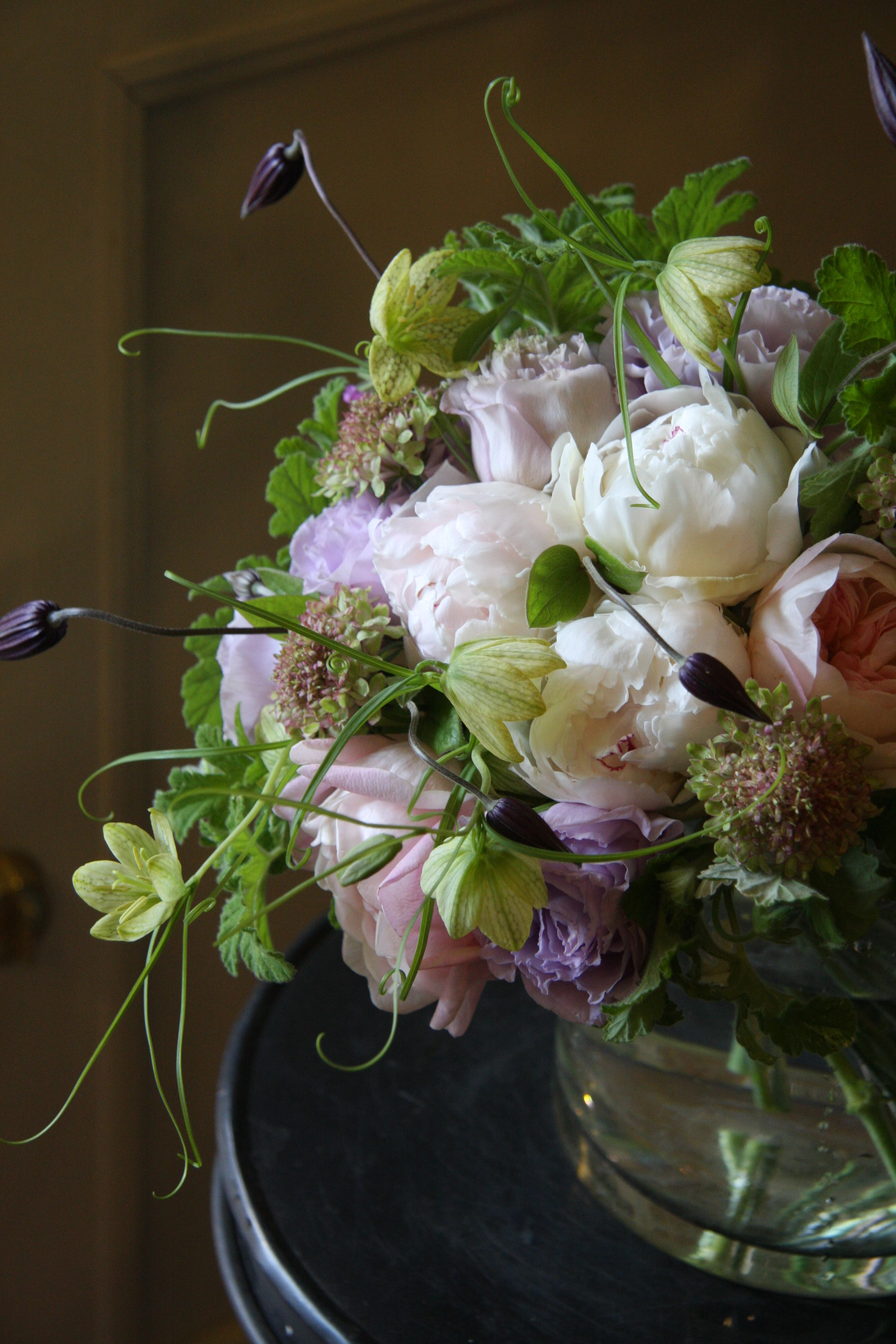 peony,rose,eustoma and clematis