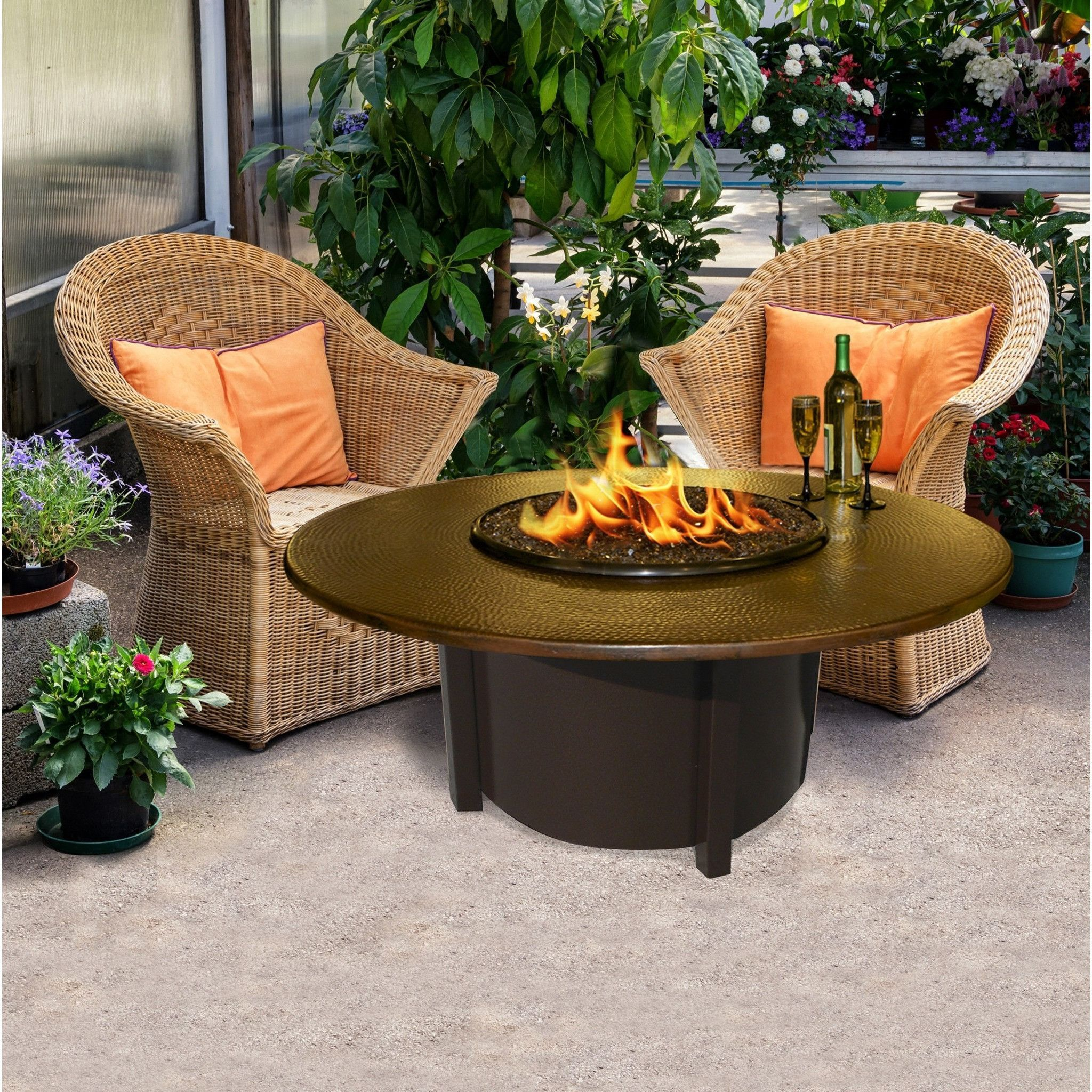 american fire glass carmel round fire pit w 42 hammered copper