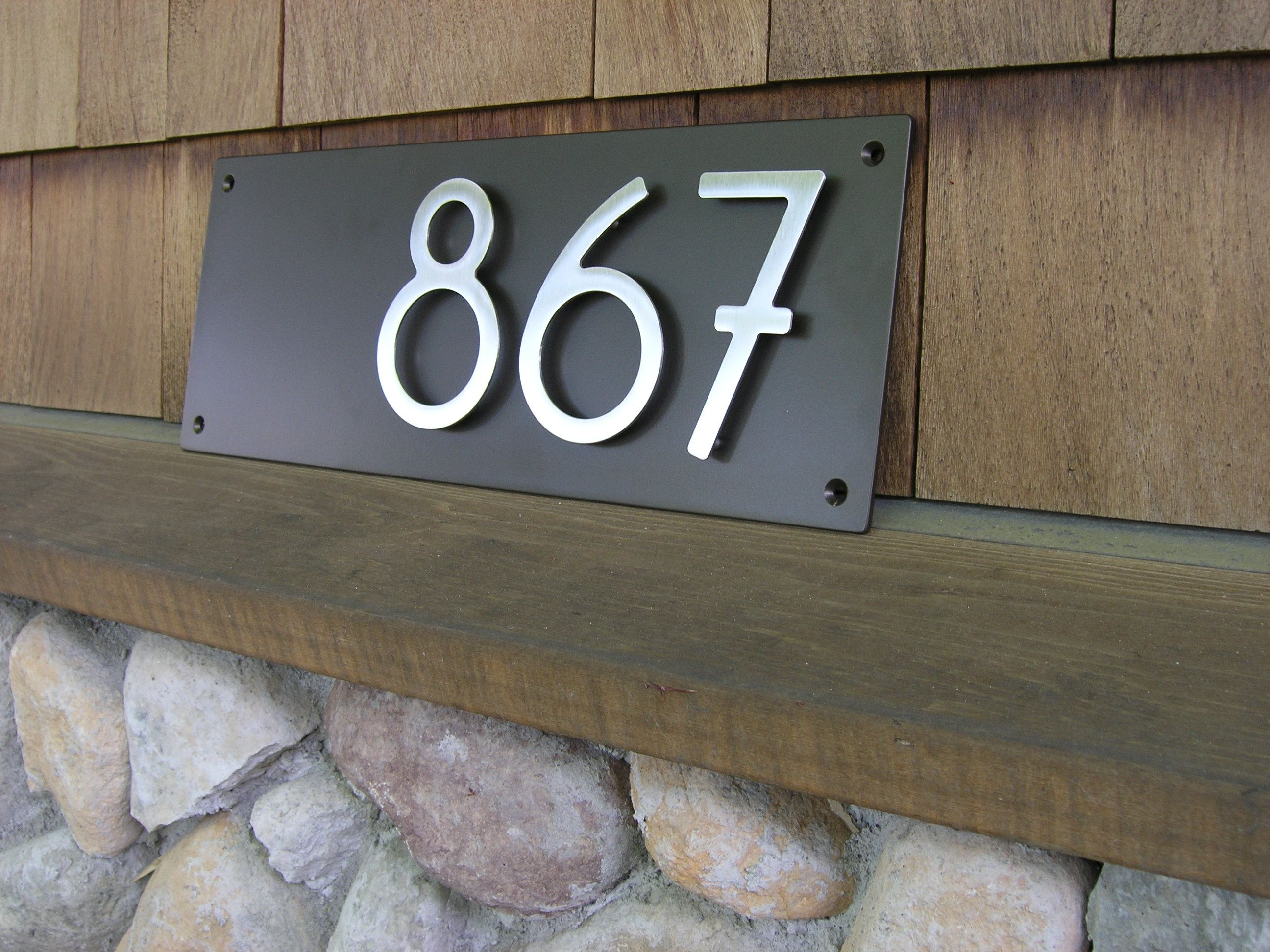 """Address Plaque With 5"""" Bungalow Style House Numbers 3"""