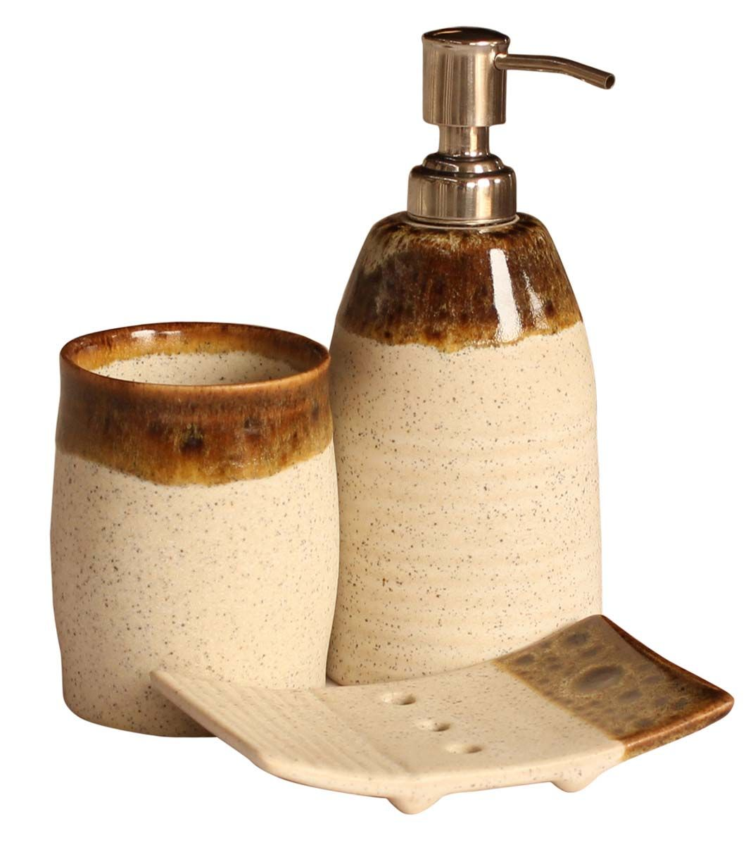 bulk wholesale handmade ceramic bathaccessories set 3 items - Bathroom Accessories Distributors