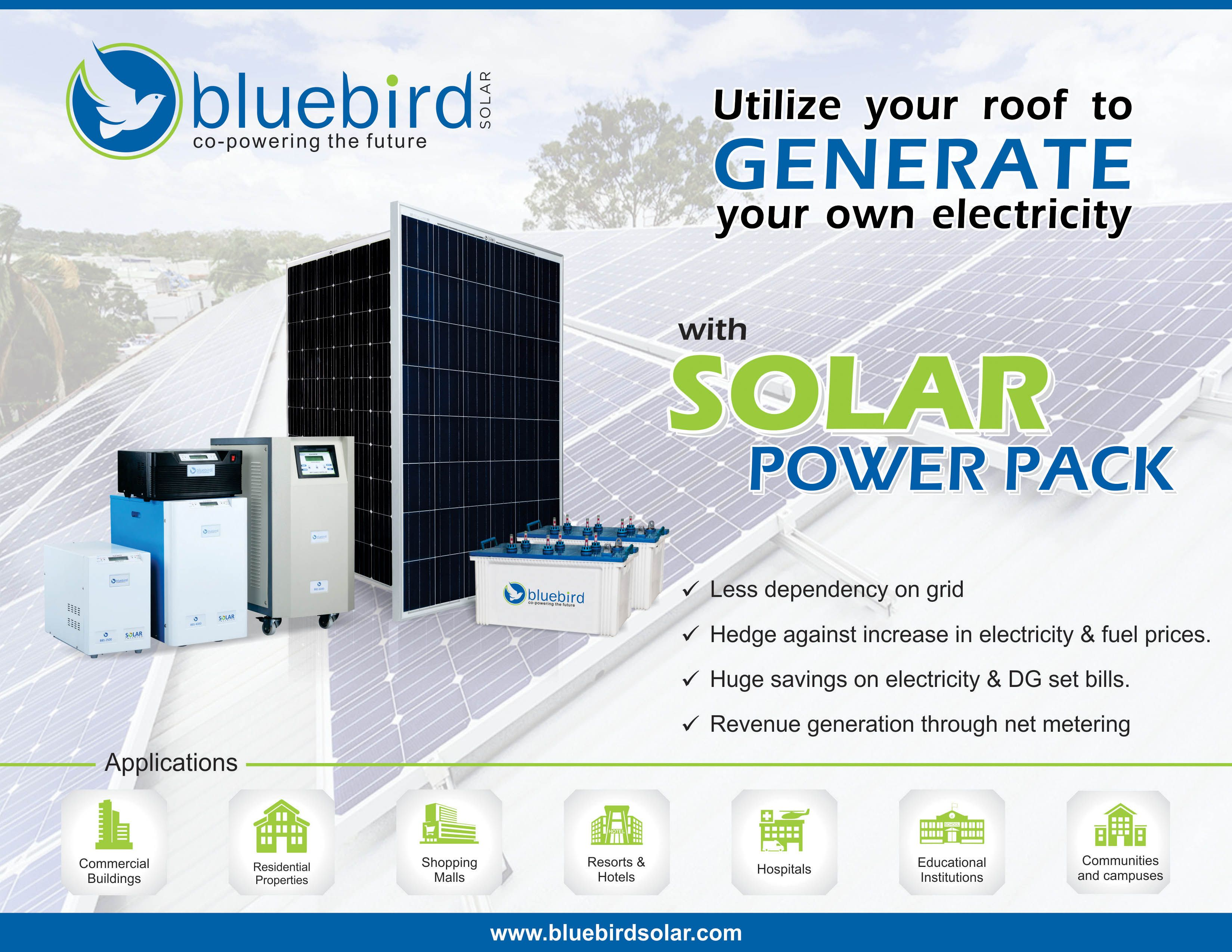 Rely On Self For Power Generation No More High Electricity Bills No More Expenditure On Fuel For Dg Set Go For Bluebird Sola Solar Power Solar Power Pack